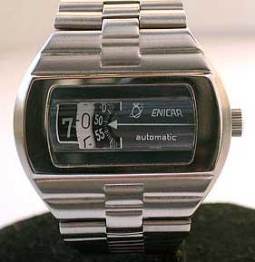 1970's Enicar Automatic Mechanical Digital Jump Hour