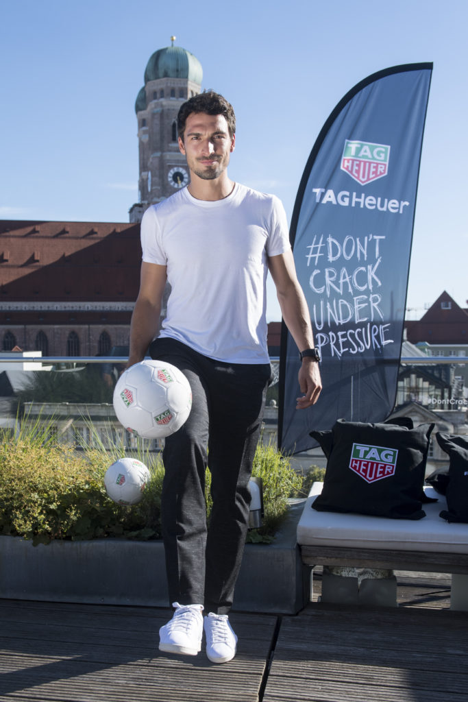 MUNICH, GERMANY - AUGUST 23: Mats Hummels, new brand ambassador for TAG Heuer, juggles the ball at Hotel Bayerischer Hof on August 23, 2016 in Munich, Germany. (Photo by Lennart Preiss/Getty Images for TAG Heuer )